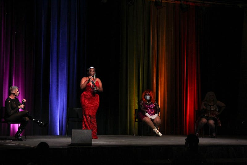 Joey Jay, a contestant on season 13 of RuPaul's Drag Race, Black Dahlia, the host of the ASU drag show, and Bae Le Stray and Lady Fall answer questions following their performances