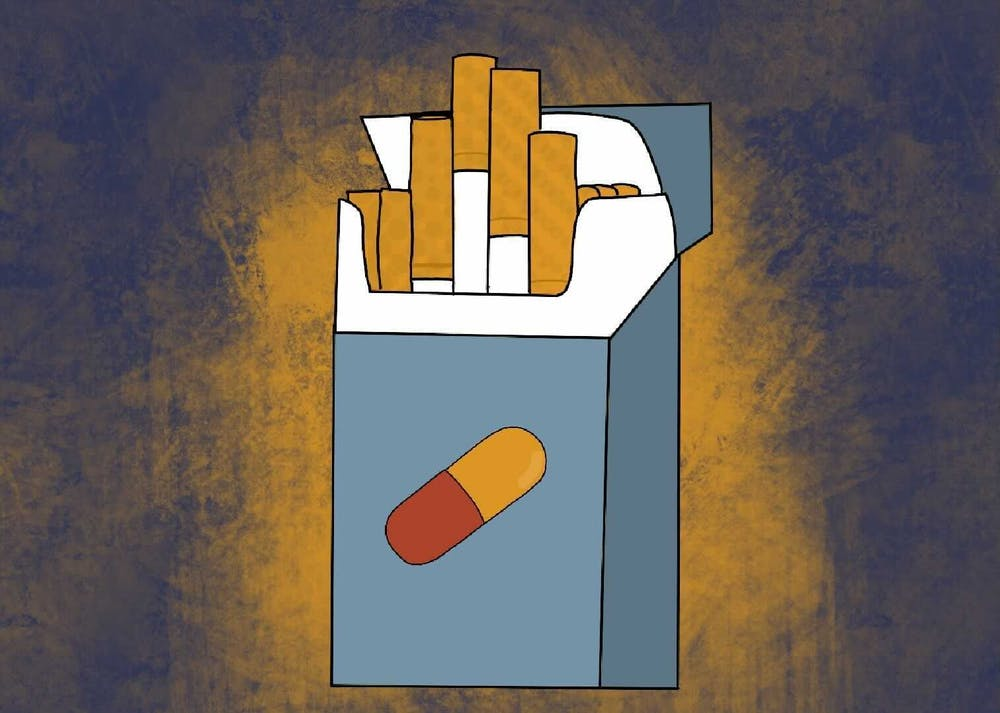 An illustration of a box of cigarettes with a pill on the front.