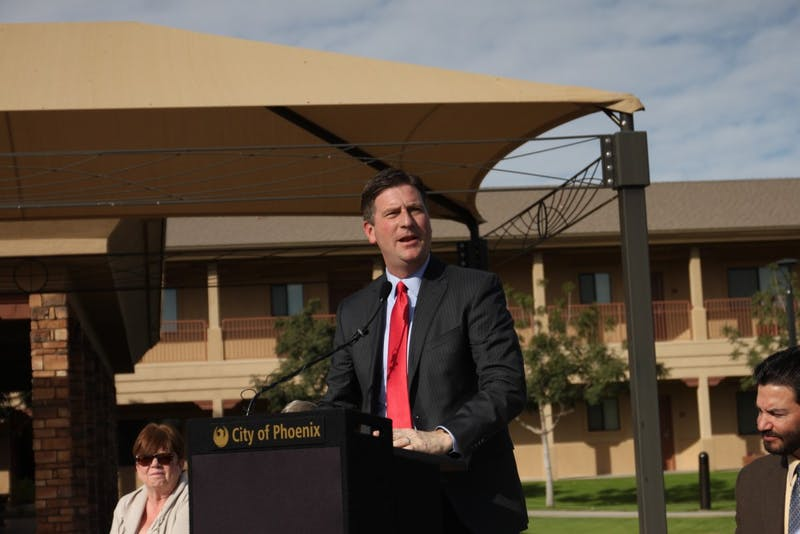 Mayor Stanton speaking at opening ceremony for Starfish Place.