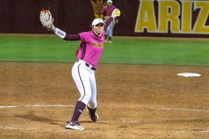 Madison Preston (14) pitches against Illinois State University