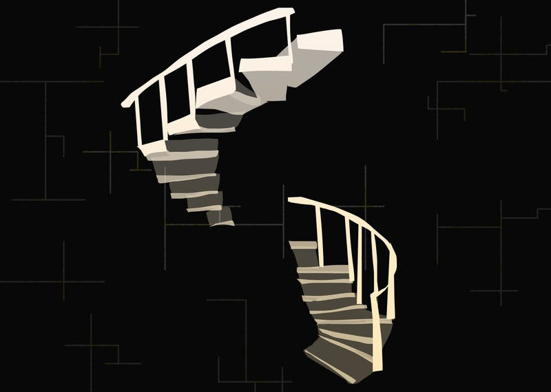 An illustration of stairwells from the book House of Leaves.