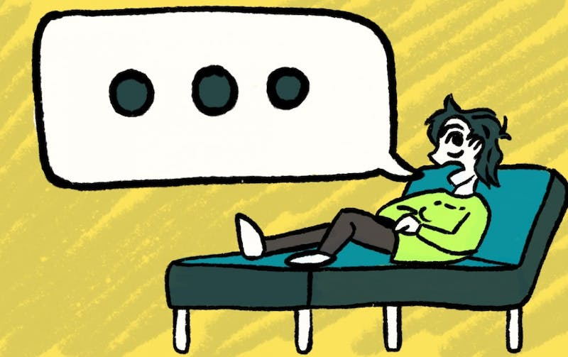 An illustration of a student attending counseling provided by ASU.