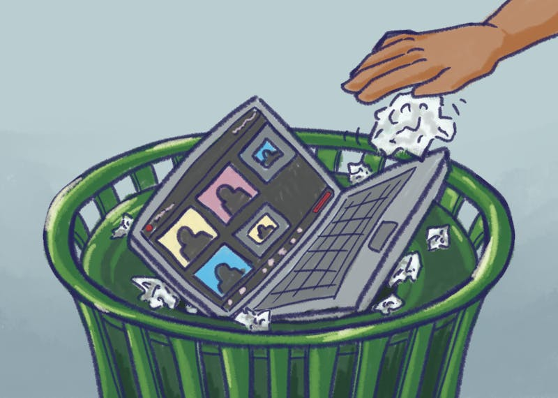 An illustration of a laptop running an ASU Sync class over zoom getting thrown in the trash.