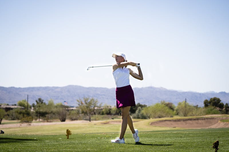Alexandra Fosterling watches a drive