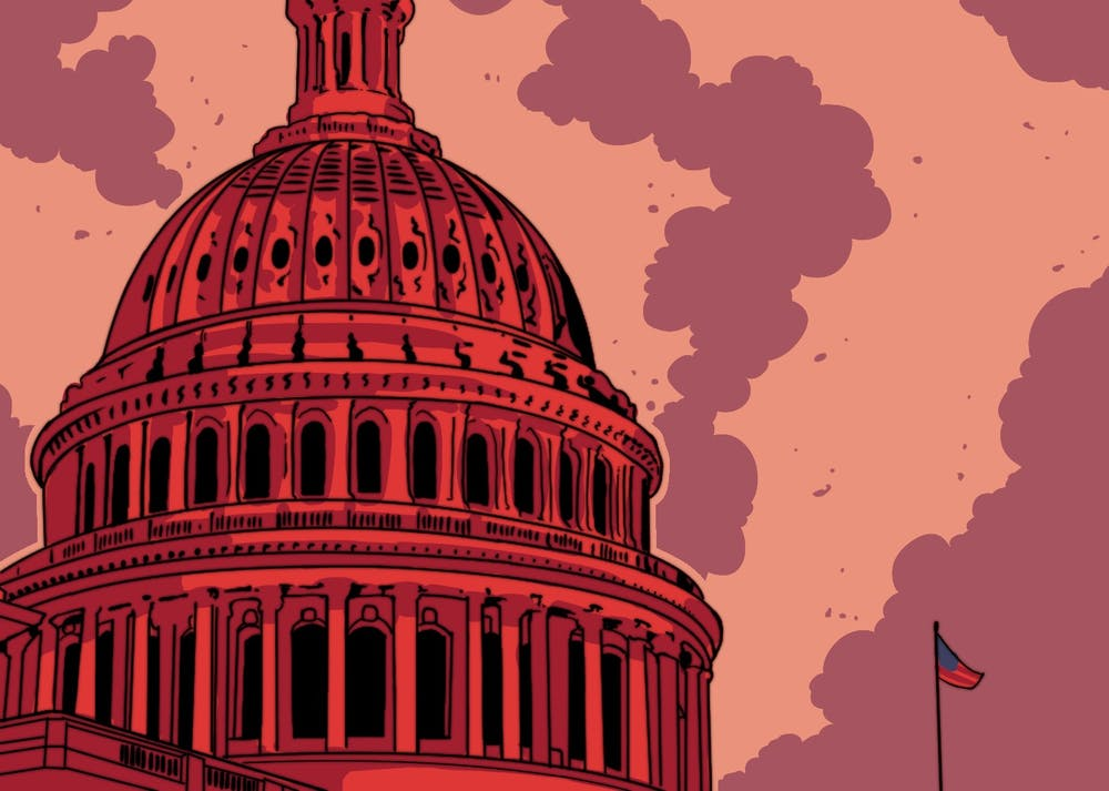 An illustration of the U.S. Capitol Building shaded in a moody red.