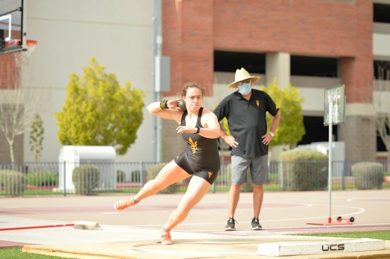 Jorinde van Klinken throws in the women's shot put in Phoenix, Arizona.