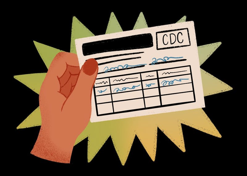 An illustration of the CDC vaccine card ASU students and others receive after getting vaccinated.