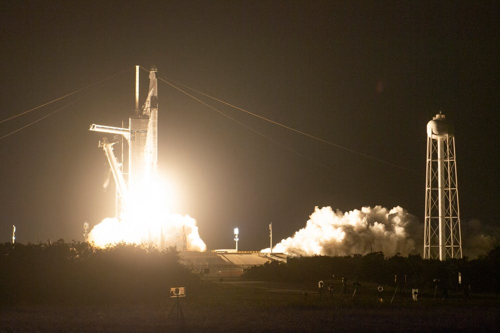 A rocket launches from the Kennedy Space Center.