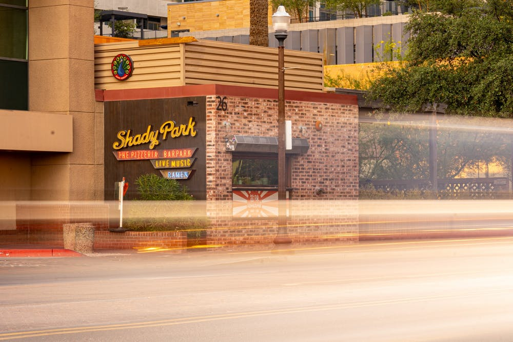 The sign for Shady Park in Tempe is shown.