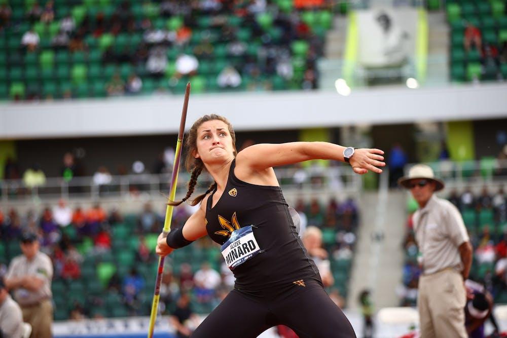 Alizee Minard prepares to throw a javelin