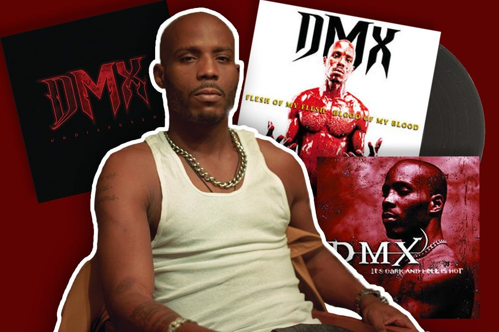 A photo illustration of rapper DMX sitting in-front of three of his albums is shown.