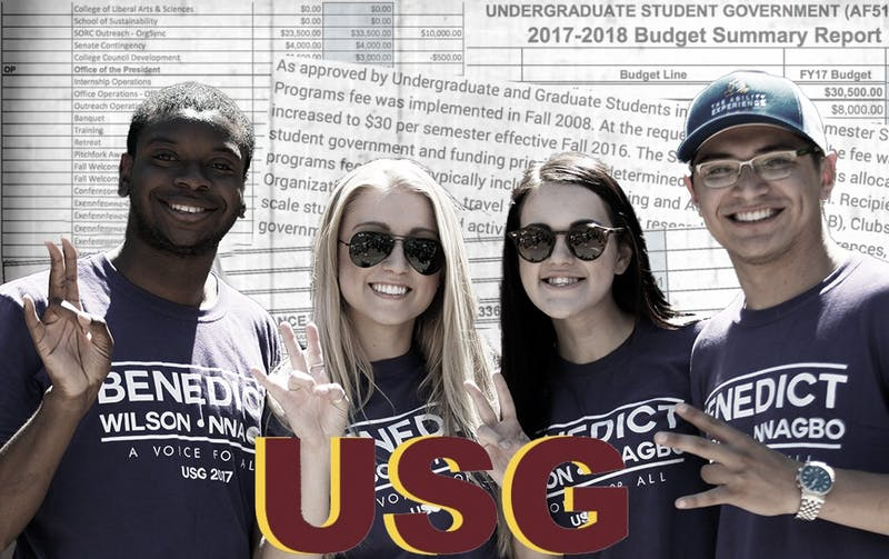 Photo of USG Tempe Benedict ticket by Delia Johnson. Graphic published on Tuesday, March 20, 2018.