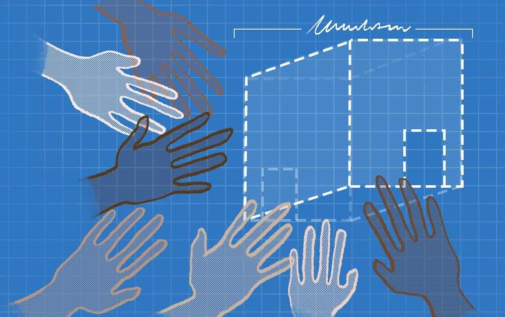 An illustration of a blueprint design of a building, with hands reaching out to it.