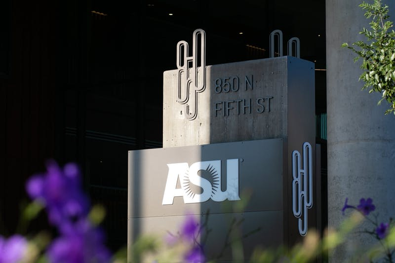 The address sign for ASU Interdisciplinary Science and Technology and Building 8 is pictured