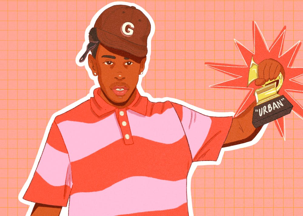 An illustration of Tyler the Creator, holding up a Grammy with the urban category on it.