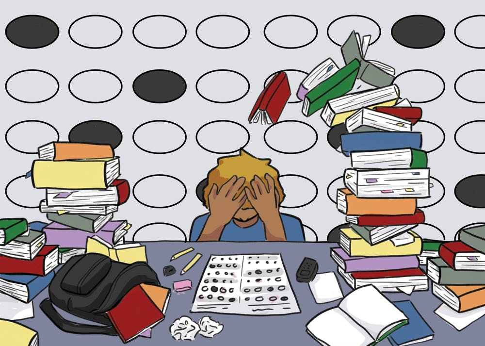 An illustration of a student surrounded by tests, books and study guides.