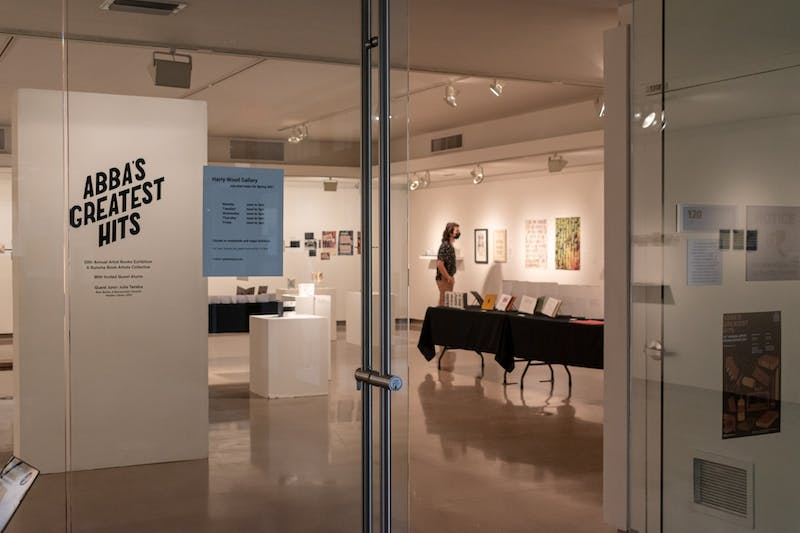 The entrance to A Bunch of Book Artists (ABBA) Greatest Hits 20-year anniversary exhibition on Monday, Feb. 1, 2021, at the Harry Wood Gallery on the Tempe campus.