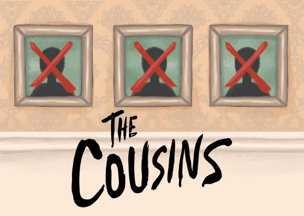 An illustration of picture frames crossed out with a red X, mirroring the book cover of The Cousins.
