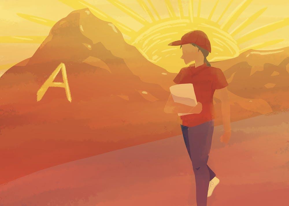 A worker near A-Mountain stands under a massive sun.