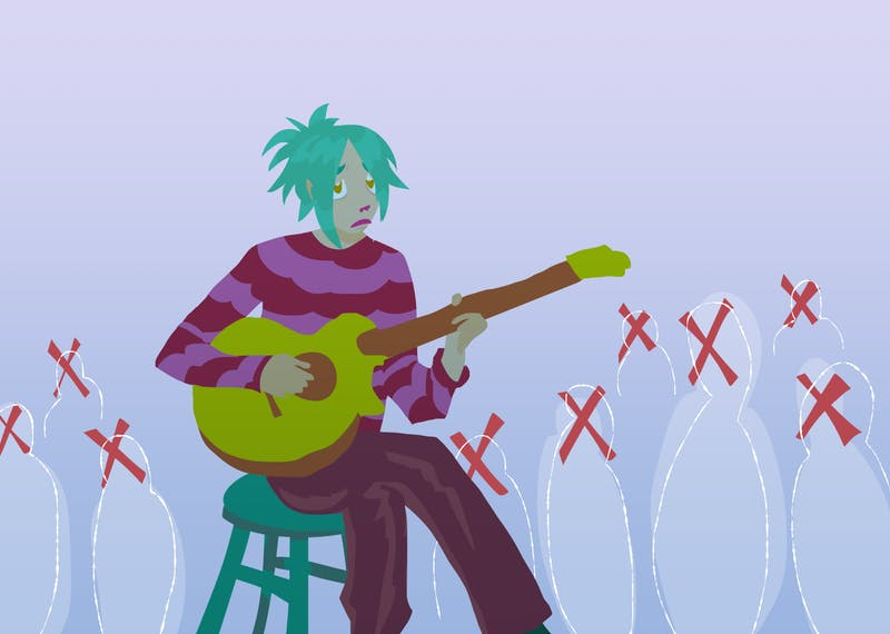 An illustration of a musician playing for a non-existant audience.