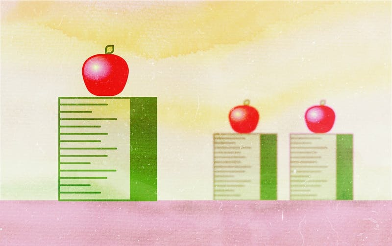 An illustration showing one apple on a higher podium than two other apples that are falling behind.
