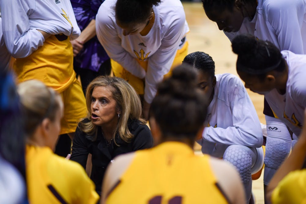 Charlie Tuner Thorne talks with the team during ASU's matchup against Colorado