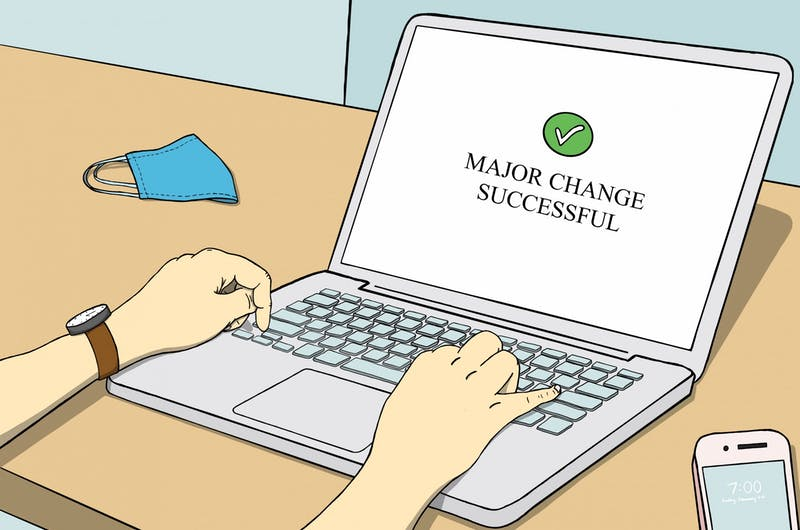 """""""For some students a major change can come as a quick inspiration, and for others it's a long process into discovering what they really want to get out of life."""" Illustration published on Monday, Feb. 8, 2021."""