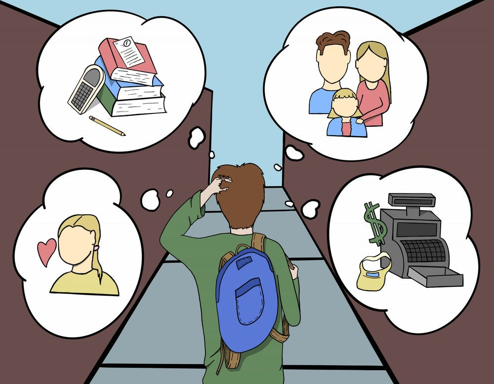 An illustration of a student with anxiety and mental health issues, how needs increased mental health resources.
