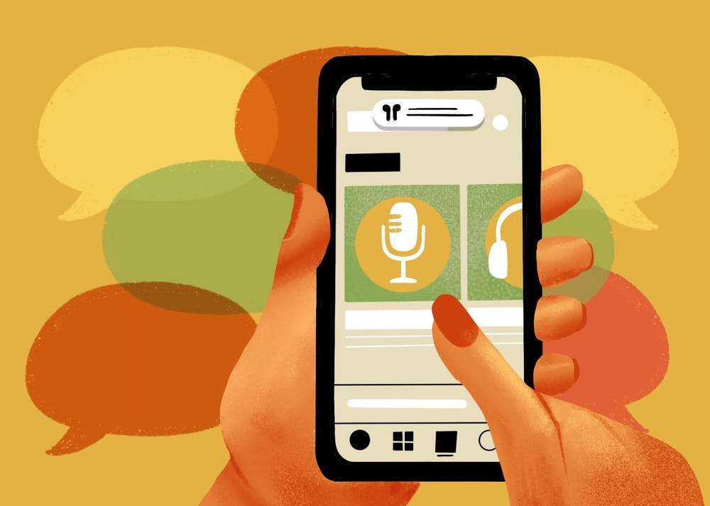 An illustration of a phone playing a podcast.