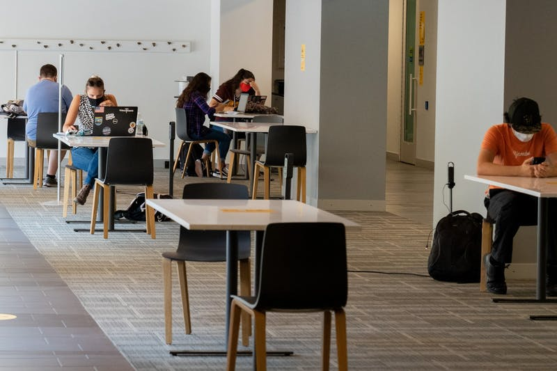 Students work on classes and relax in the Memorial Union basement on Thursday, Aug. 20, 2020, on the ASU Tempe campus.