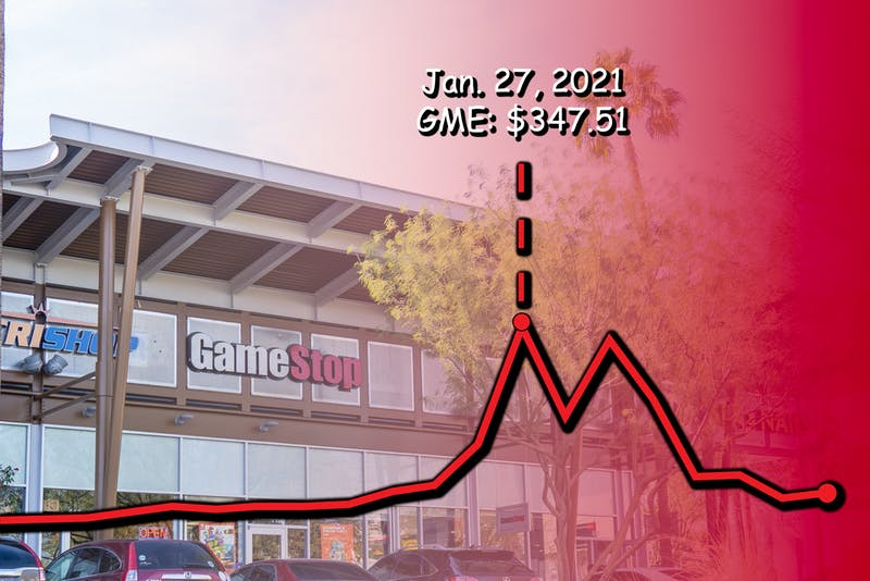A Gamestop in Arizona with a stock graph overlaying it, showing the huge jump of the stock.