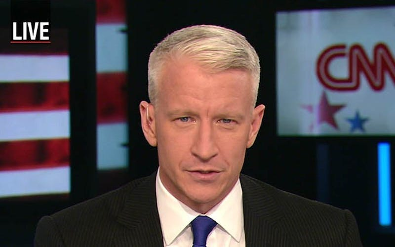 Screenshot of Anderson Cooper on CNN from November 16, 2007.
