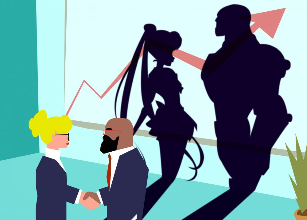 Two people shaking hands with their silhouettes showing cartoon heroes.
