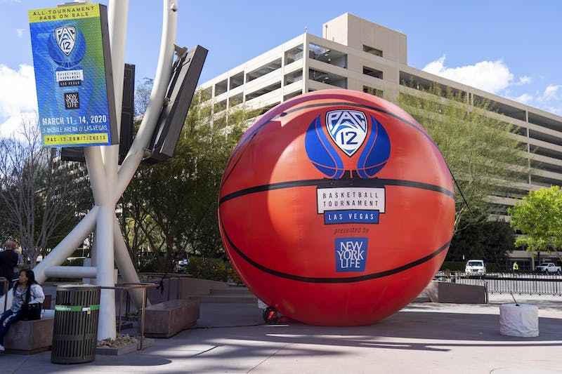 An inflatable basketball with the Pac-12 logo sits outside T-Mobile Arena in Las Vegas.