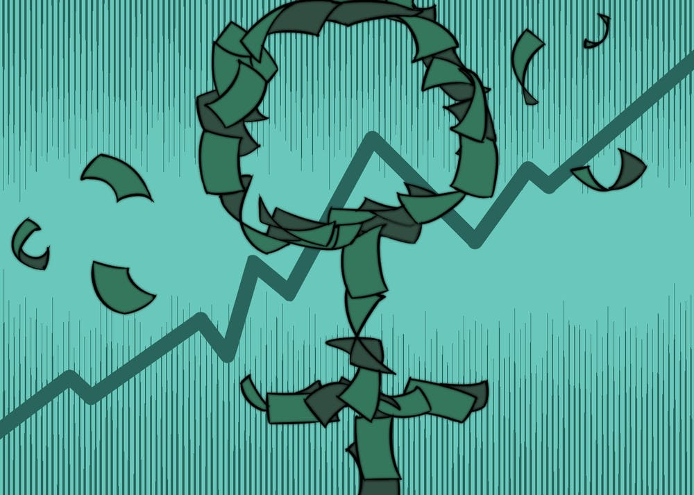 The symbol for the female gender, made out of dollar bills on a graph trending upwards.