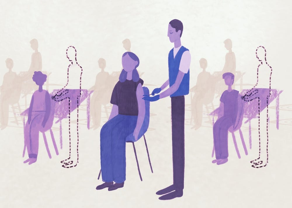 An illustration of a volunteer giving vaccines and volunteers absent in the background.