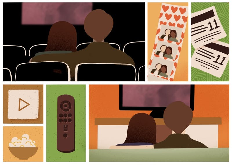 An illustration comparing a movie theater experience to the living room TV.