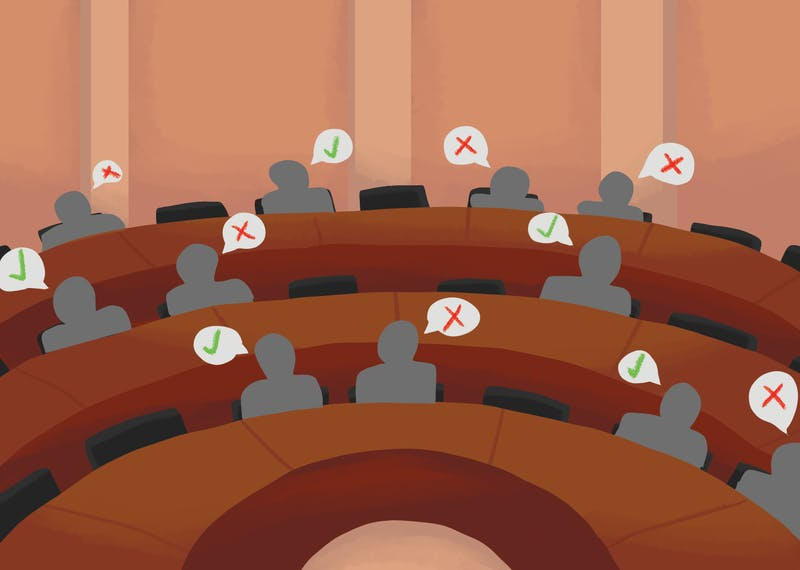 An illustration depicts greyed-out senators debating in a chamber.