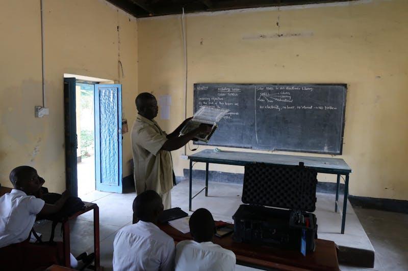Philip Sunday Ephraim teaches their class at the Juba Girls Secondary School in Juba, South Sudan.