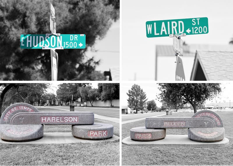 Signs for Hudson Drive, Laird Street, Harelson Park and Redden Park are pictured in a photo collage.