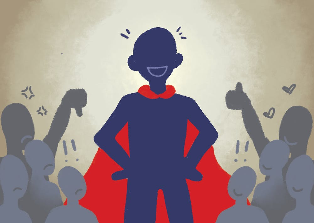 An illustration of a super hero with disapproving and approving audiences.