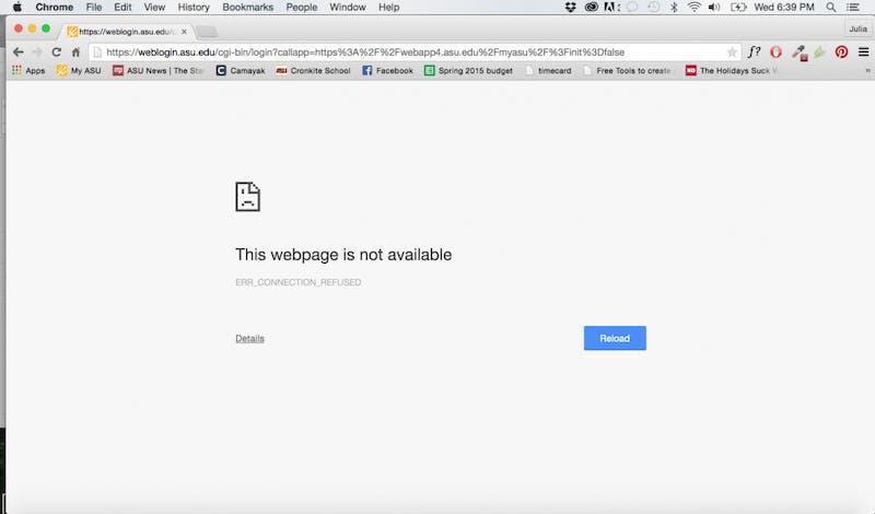 myASU error screen
