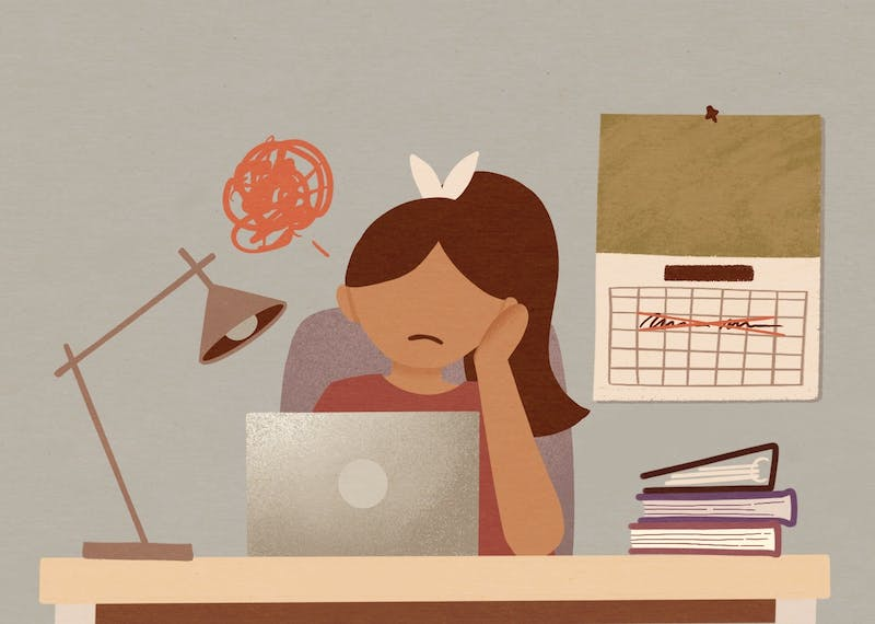An illustration of a frustrated student working through a canceled spring break.