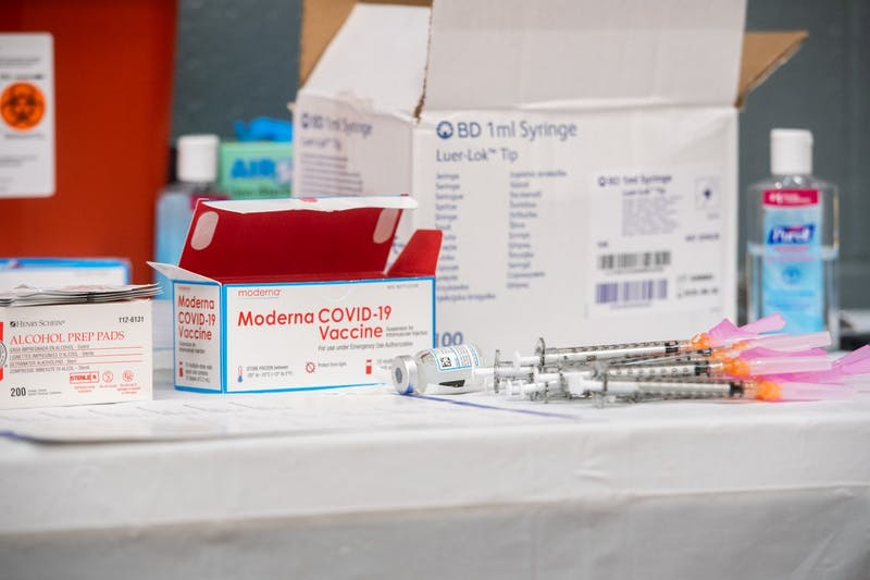 The Moderna COVID-19 vaccine is pictured inside the Sun Devils Fitness Complex on the Tempe campus on Tuesday, Feb. 2, 2021. ASU was authorized to administer 1,000 vaccines beginning Jan. 22.