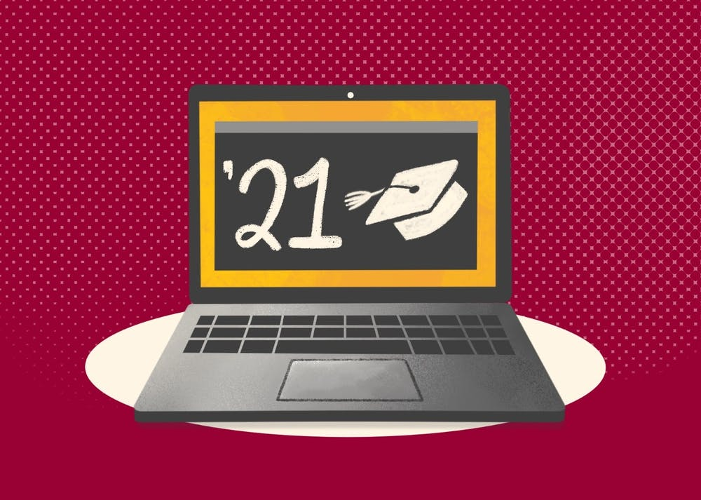 An illustration of a laptop showing a graduation cap and the year 2021, signifying virtual commencement.