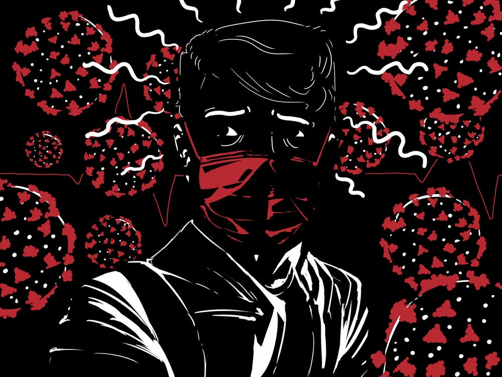An illustration of a person wearing a mask surrounded by COVID-19 viruses.