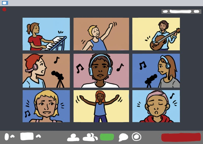 An illustration of students singing, performing and playing instruments in zoom.