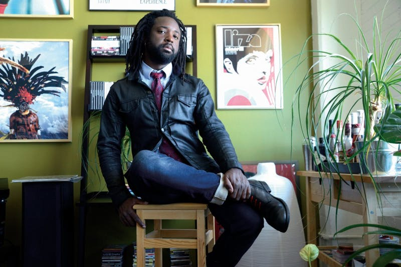 Marlon James poses for photo