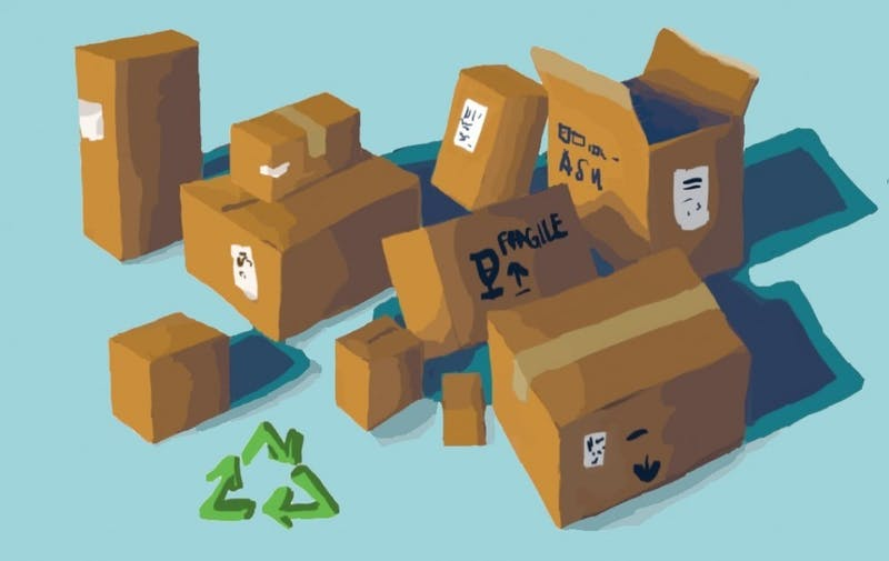 An illustration of a bunch of cardboard boxes.
