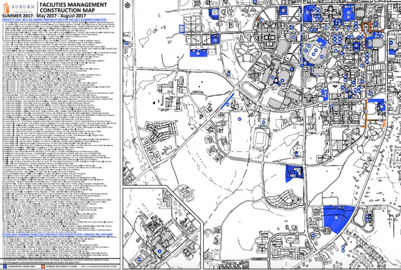 Thefacilities management construction map displays the full list of Summer 2017 Projects.